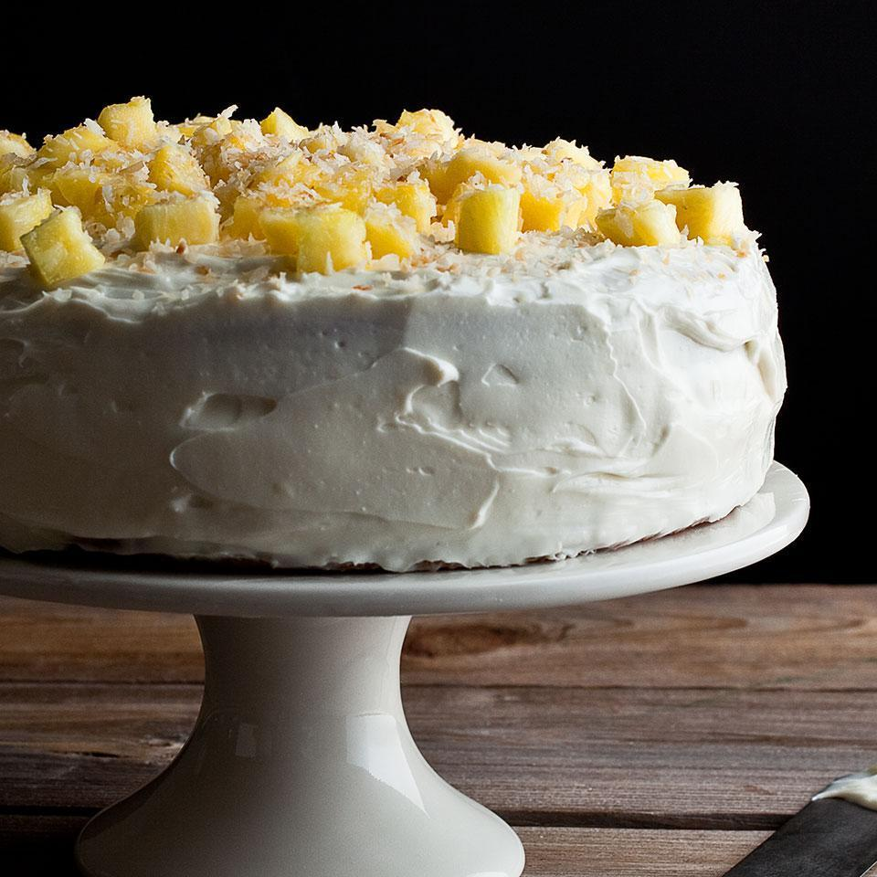"<p>In this stunning dessert recipe, two layers of coconut cake, made with white whole-wheat flour for extra nutrition, are filled with sweet pineapple curd and topped with creamy coconut frosting, chunks of fresh pineapple and toasted coconut. <a href=""http://www.eatingwell.com/recipe/249624/pineapple-coconut-layer-cake/"" rel=""nofollow noopener"" target=""_blank"" data-ylk=""slk:View recipe"" class=""link rapid-noclick-resp""> View recipe </a></p>"