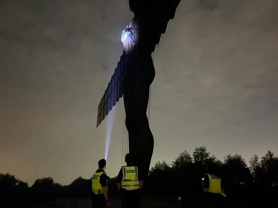 The Angel of the North with an England badge