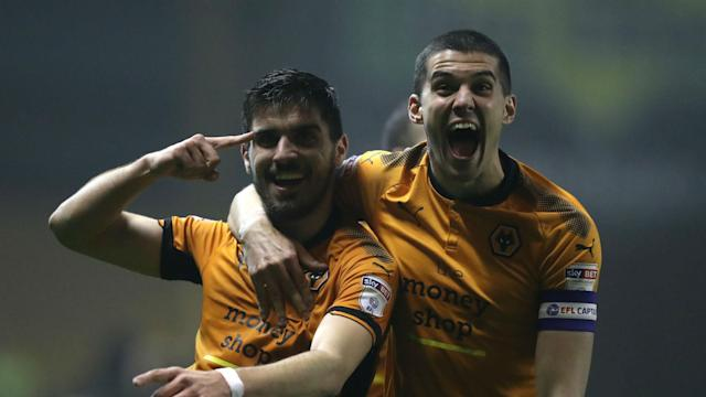 Wolves edged ever closer to a Premier League return as Diogo Jota and Ruben Neves secured victory over Derby County on Wednesday.