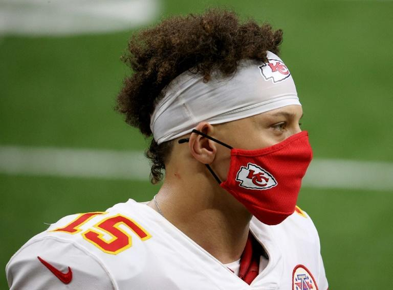 Kansas City Chiefs quarterback Patrick Mahomes watches the on field activities after Sunday's win over the New Orleans Saints in New Orleans, Louisiana