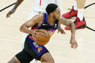 Phoenix Suns guard Cameron Payne drives against the Los Angeles Clippers during the first half of Game 2 of the NBA basketball Western Conference Finals, Tuesday, June 22, 2021, in Phoenix. (AP Photo/Matt York)