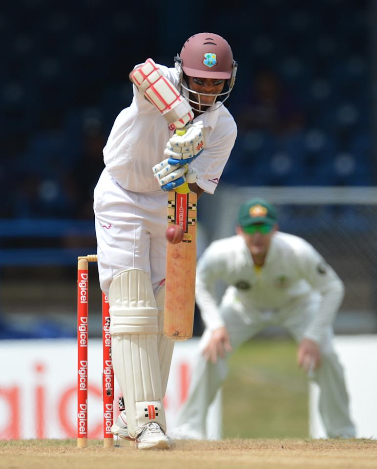 West Indies batsman Shivnarine Chanderpaul plays a shot during the third day of the second-of-three Test matches between Australia and West Indies April 17, 2012 at Queen's Park Oval in Port of Spain, Trinidad. AFP PHOTO/Stan HONDA (Photo credit should read STAN HONDA/AFP/Getty Images)
