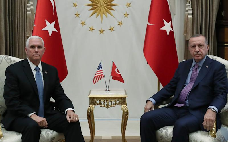 Turkish President Recep Tayyip Erdogan receives US Vice President Mike Pence at the Presidential Complex in Ankara - Anadolu