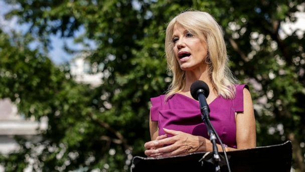 PHOTO: Kellyanne Conway, counselor to President Donald Trump, speaks to reporters outside of the West Wing of the White House on August 6, 2020 in Washington, DC. (Samuel Corum/Getty Images)