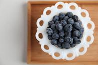 """<p>Not only are blueberries an antioxidant powerhouse, they've also been shown to <a href=""""https://www.popsugar.com/fitness/Blueberries-Fight-Belly-Fat-3060019"""" class=""""link rapid-noclick-resp"""" rel=""""nofollow noopener"""" target=""""_blank"""" data-ylk=""""slk:play a role in reducing belly fat"""">play a role in reducing belly fat</a>. Blueberries are loaded with anthocyanin, which has been shown to alter the activity of genes found in human fat cells, making it more difficult to put on weight. I bet you can't wait to make one of these <a href=""""https://www.popsugar.com/fitness/Healthy-Blueberry-Recipes-24188053"""" class=""""link rapid-noclick-resp"""" rel=""""nofollow noopener"""" target=""""_blank"""" data-ylk=""""slk:healthful blueberry recipes now"""">healthful blueberry recipes now</a>.</p>"""