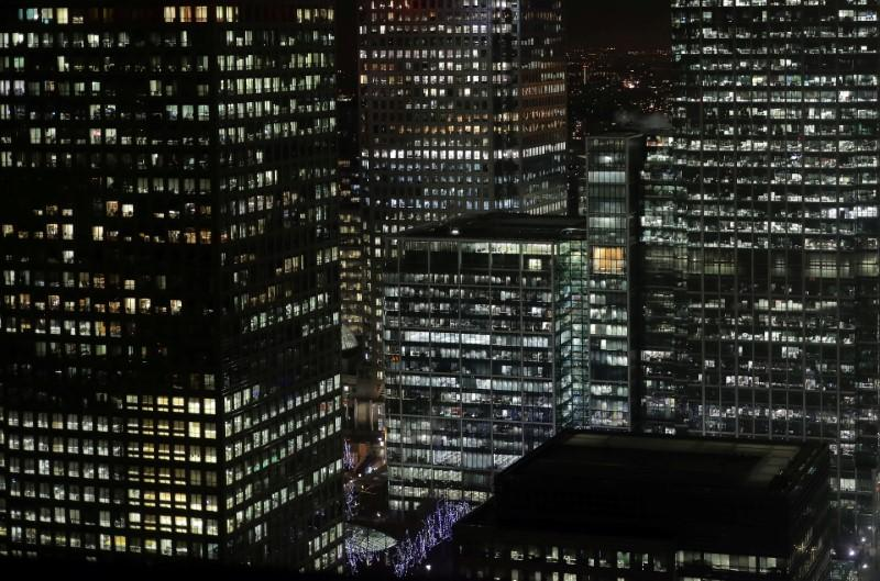 FILE PHOTO: Offices in the financial district of Canary Wharf in London