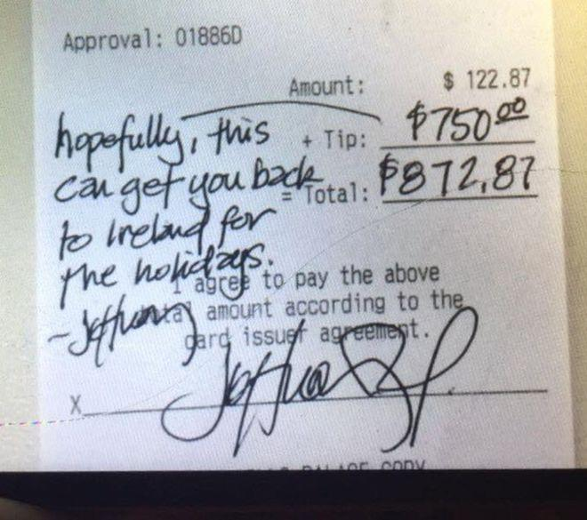 Amazing diner tips waiter $750 so he can visit family in Northern Ireland