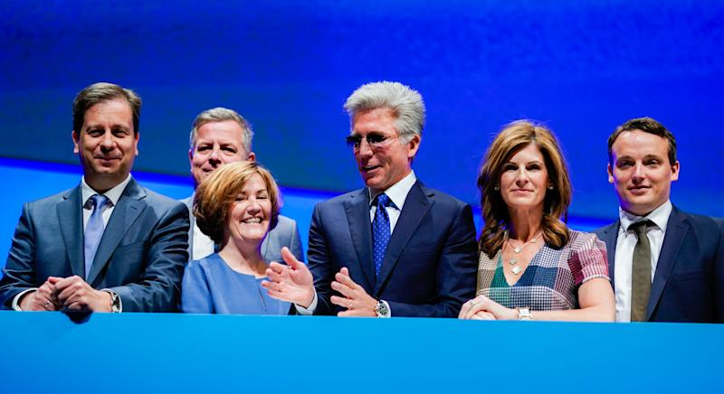 15 May 2019, Baden-Wuerttemberg, Mannheim: Luka Mucic (l-r), Chief Financial Officer, Stefan Ries, Chief Human Resources Officer, Adaire Fox-Martin, Global Customer Operations, Bill McDermott, Chief Executive Officer, Jennifer Morgan, Member of the Executive Board, and Christian Klein, Chief Operating Officer, stand behind a corporate logo at SAP's Annual General Meeting. Photo: Uwe Anspach/dpa (Photo by Uwe Anspach/picture alliance via Getty Images)
