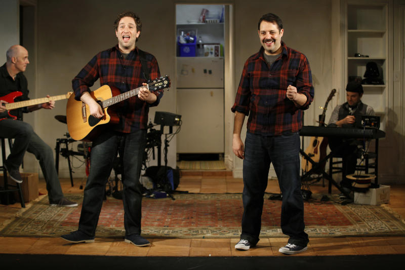 "This undated theater image released by the Soho Playhouse shows David Rossmer, left, and Steve Rosen performing in ""The Other Josh Cohen,"" running through Nov. 11, 2012, at the scenic SoHo Playhouse in New York. (AP Photo/Soho Playhouse, Carol Rosegg)"