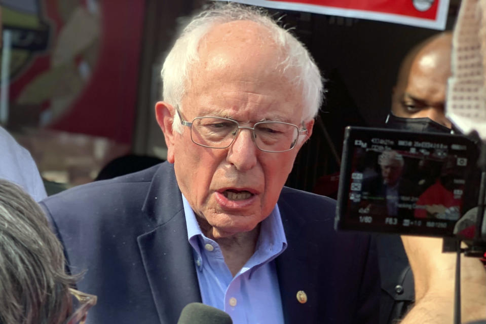 U.S. Sen Bernie Sanders, I-Vt., speaks at a rally, Friday, March 26, 2021, in Birmingham, Ala., ahead of a union vote at an Amazon warehouse in the state. Sanders said a labor victory at the tech and retail giant would resonate around the country. (AP Photo/Kim Chandler)