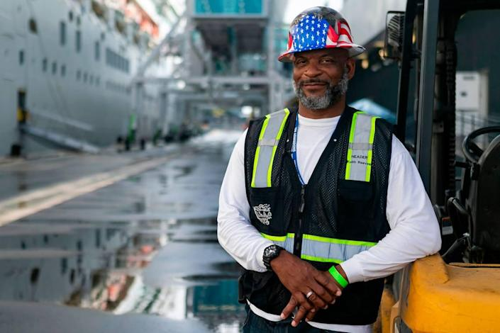 Longshoreman Keith Reaves worked with his colleagues to load items onto a cruise ship at the Norwegian Cruise Line Terminal in PortMiami on Tuesday, February 16, 2021. Reaves, a header, has been working as a longshoreman for 21 years.