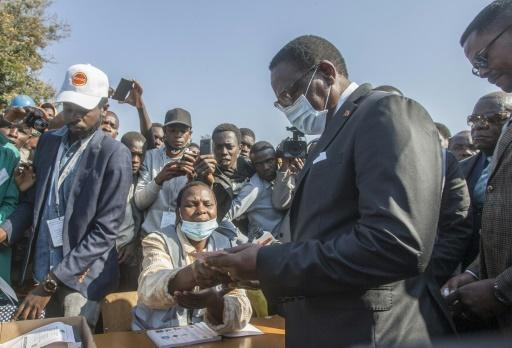 Chakwera wore a mask as he cast his ballot at a school in Lilongwe