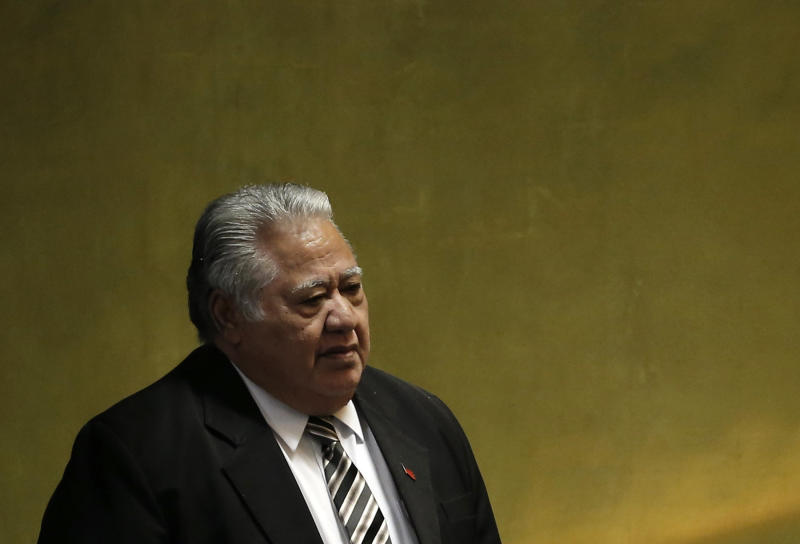 Samoan Prime Minister Tuilaepa Sailele criticized world leaders who don't believe in climate change in a recent speech. (Mike Segar/Reuters)