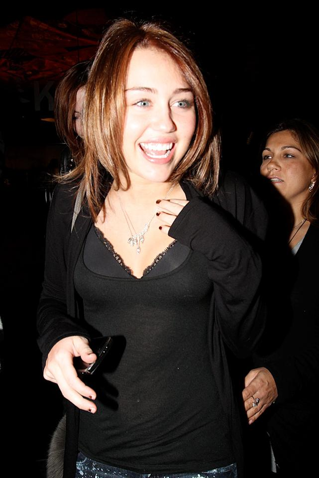 """Miley Cyrus made headlines on Tuesday for sporting a rather racy top -- just one more indication she's no longer a little girl. In other news, it was announced that Ms. Cyrus will be a presenter at the 52nd Annual Grammy Awards, which airs January 31 on CBS. Epa-Campos/<a href=""""http://www.x17online.com"""" target=""""new"""">X17 Online</a> - January 12, 2010"""
