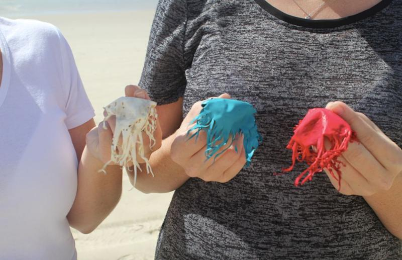 When latex balloons pop in the atsmosphere, they form a jellyfish-shaped piece of latex. Source: Rubber Jellyfish