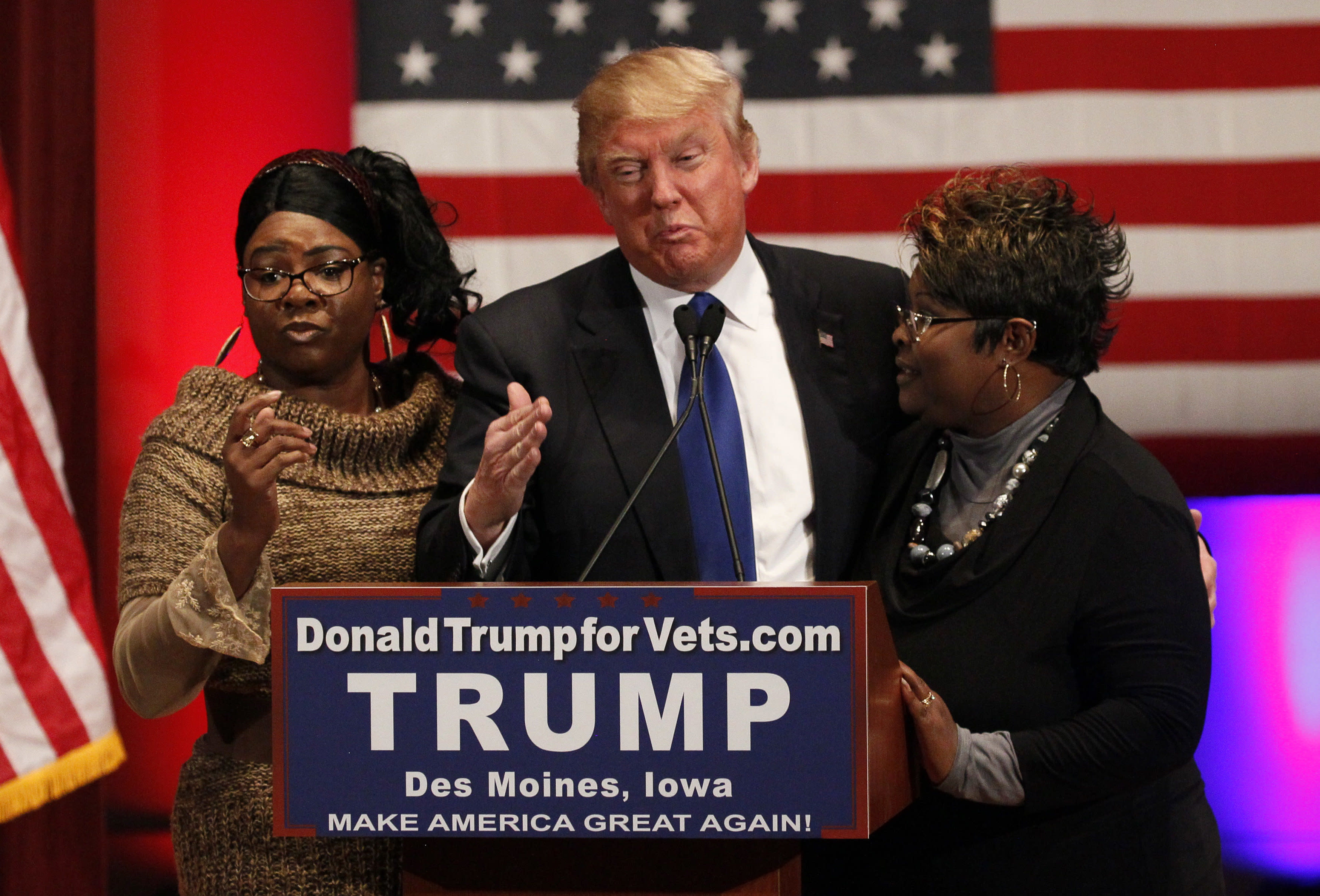 """The YouTube stars known as """"Diamond and Silk"""" appear with Donald Trump during his presidentialcampaign. (Rick Wilking / Reuters)"""