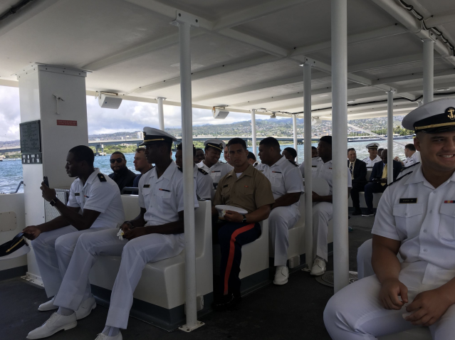 Navy athletes visited Pearl Harbor before their game against Hawaii. (via Navy Athletics)