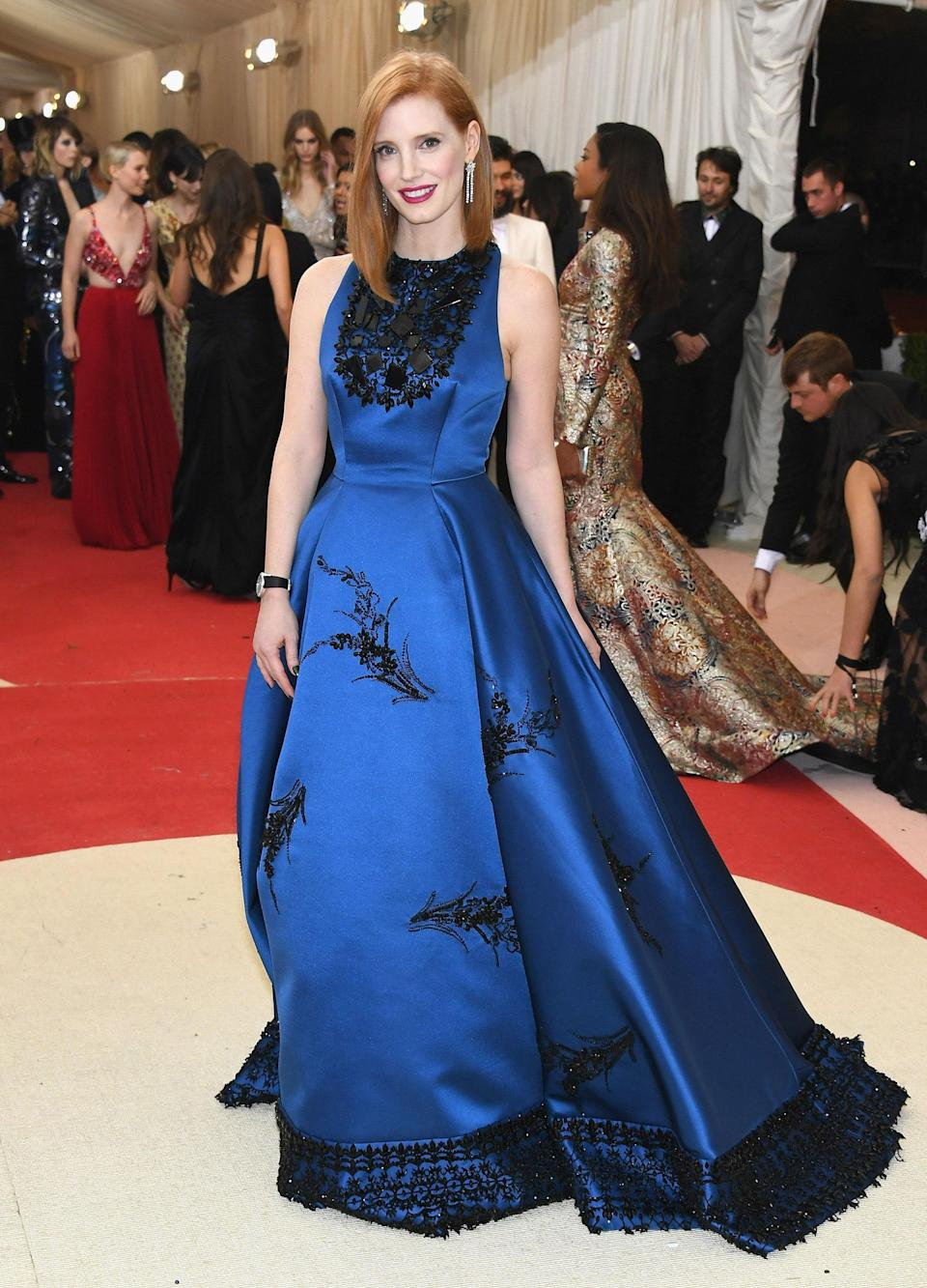 """<h1 class=""""title"""">Jessica Chastain in a Prada dress and Piaget jewelry</h1> <cite class=""""credit"""">Photo: Getty Images</cite>"""