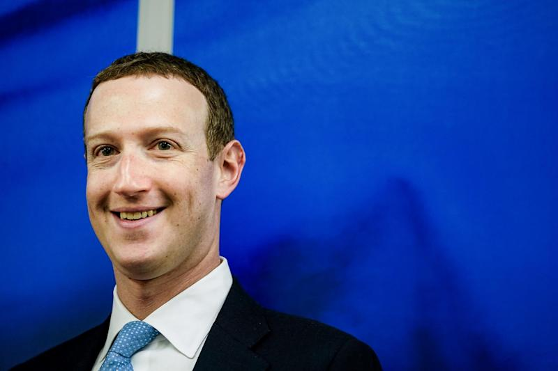 Founder and CEO of US online social media and social networking service Facebook Mark Zuckerberg reacts upon his arrival for a meeting with European Commission vice-president in charge for Values and Transparency, in Brussels, on 17 February 2020: (2020 Getty Images)