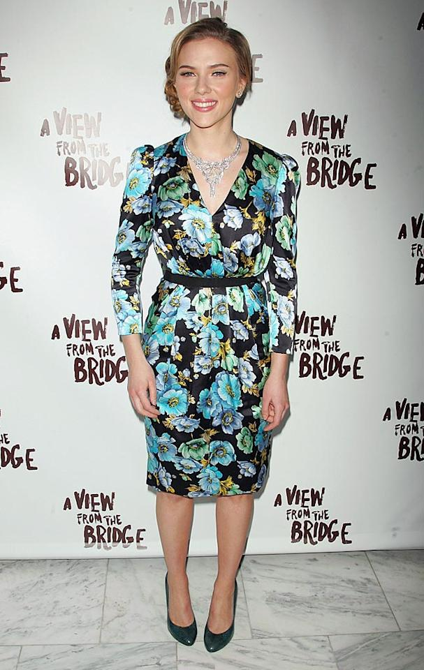 "Don't get us wrong; Scarlett Johansson is a gorgeous girl. We were just surprised to see the 25-year-old actress in such a matronly mess of a dress and age-inappropriate 'do at the debut of her Broadway play, ""A View From the Bridge."" Jim Spellman/<a href=""http://www.wireimage.com"" target=""new"">WireImage.com</a> - January 24, 2010"