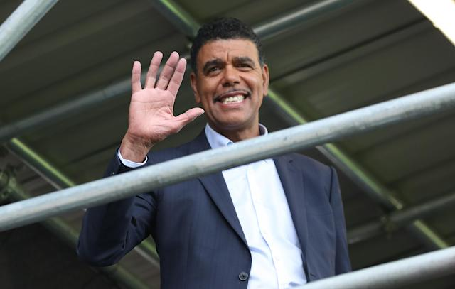 Chris Kamara waves during the Sky Bet Championship match between Fulham and Blackburn Rovers at Craven Cottage on August 10, 2019 in London, England. (Photo by Rachel Holborn - BRFC/Getty Images)