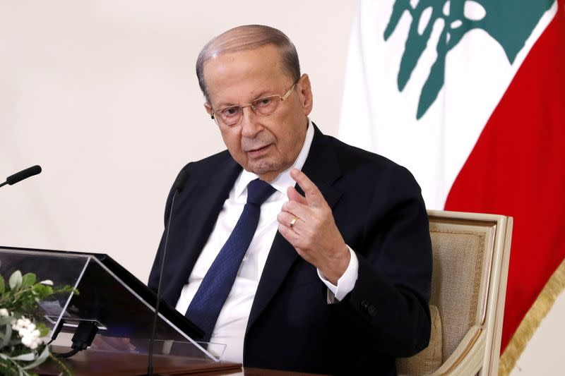 FILE PHOTO: Lebanon's President Michel Aoun speaks during a news conference at the presidential palace in Baabda