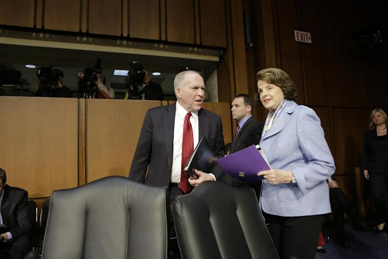 Senate Intelligence Committee Chair Sen. Dianne Feinstein, D-Calif., right, welcomes CIA Director nominee John Brennan on Capitol Hill in Washington, Thursday, Feb. 7, 2013, prior to the start of Brennan's confirmation hearing before the committee.  (AP Photo/J. Scott Applewhite)