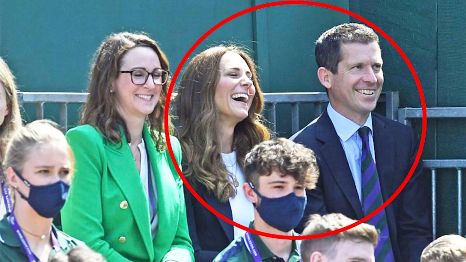 The Duchess of Cambridge Kate Middleton (pictured middle), shares a laugh with British tennis great Tim Henman (pictured right) and All England Club chief executive Sally Bolton (pictured left) at Wimbledon.