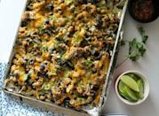 """<p>The ultimate game-day appetizer can also be a healthy(ish) dinner, with just a few substitutions: namely turkey for the ground beef, and kale chips for their corn-based cousins.</p><p><strong>Get the recipe at <a href=""""http://eatdrinkfrolic.com/2016/02/kale-chip-nachos.html"""" rel=""""nofollow noopener"""" target=""""_blank"""" data-ylk=""""slk:Eat Drink Frolic"""" class=""""link rapid-noclick-resp"""">Eat Drink Frolic</a>.</strong></p><p><strong><a class=""""link rapid-noclick-resp"""" href=""""https://www.amazon.com/dp/B00282JL7G?tag=syn-yahoo-20&ascsubtag=%5Bartid%7C10050.g.31929300%5Bsrc%7Cyahoo-us"""" rel=""""nofollow noopener"""" target=""""_blank"""" data-ylk=""""slk:SHOP BAKING PANS"""">SHOP BAKING PANS</a><br></strong></p>"""