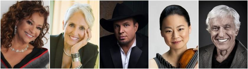 From left to right, Debbie Allen, Joan Baez, Garth Brooks, Midori and Dick Van Dyke are the 43rd Kennedy Center honorees.