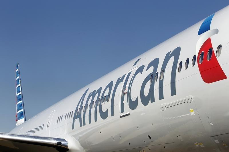 An American Airlines aircraft is on the ramp at Dallas-Ft Worth International Airport