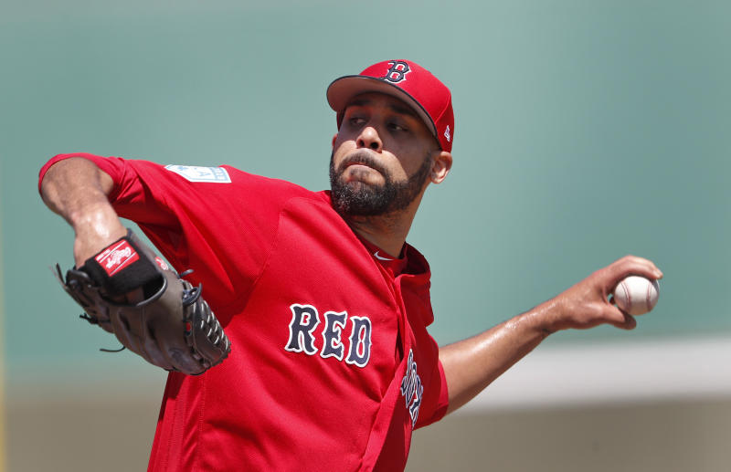 Boston Red Sox starting pitcher David Price works in the second inning of a spring training baseball game against the Detroit Tigers, Tuesday, March 12, 2019, in Fort Myers, Fla. (AP Photo/John Bazemore)