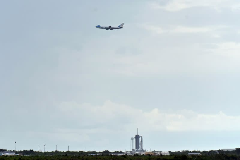 U.S. President Donald Trump flies over Pad39A on Air force One before landing to attend the launch of SpaceX Falcon 9 rocket and Crew Dragon spacecraft from NASA's Kennedy Space Center in Cape Canaveral