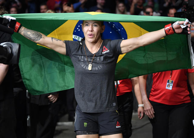 Cris Cyborg prepares to fight Felicia Spencer in their featherweight bout at UFC 240. (Getty)