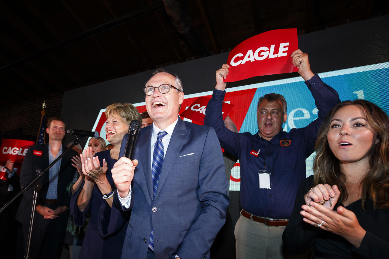 Republican candidate for Georgia Gov. Casey Cagle speaks to his supporters as he enters a runoff with Brian Kemp during an election-night watch party in Gainesville, Ga., Tuesday, May 22, 2018. (AP Photo/Todd Kirkland)