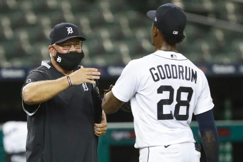 Detroit Tigers manager Ron Gardenhire celebrates with shortstop Niko Goodrum after the 7-6 win against the Chicago Cubs at Comerica Park, Aug. 26, 2020.