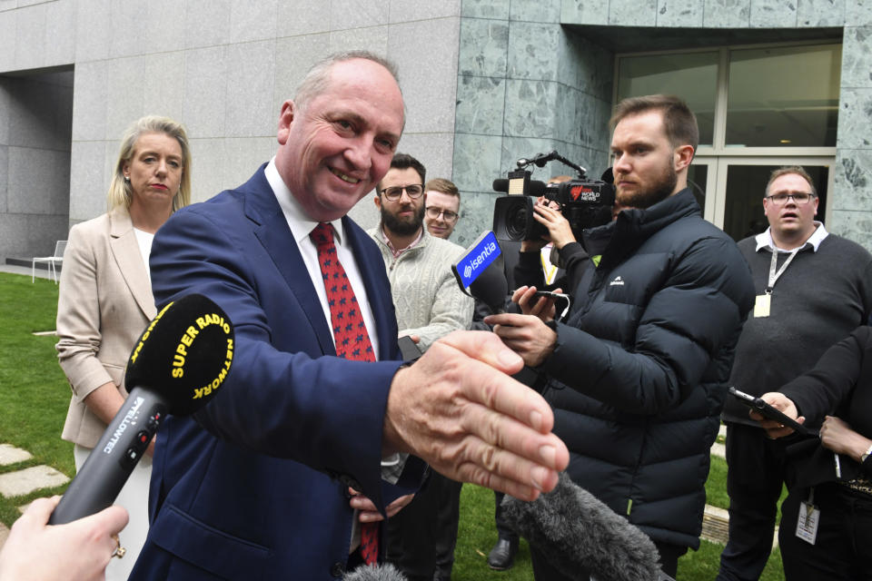 Newly-elected Nationals Leader Barnaby Joyce speaks to the media during a press conference at Parliament House in Canberra, Australia, Monday, June 21, 2021. Australian Prime Minister Scott Morrison will soon announce changes to his Cabinet after a scandal-tarnished colleague was elevated to deputy prime minister. (Lukas Coch/AAP Image via AP)