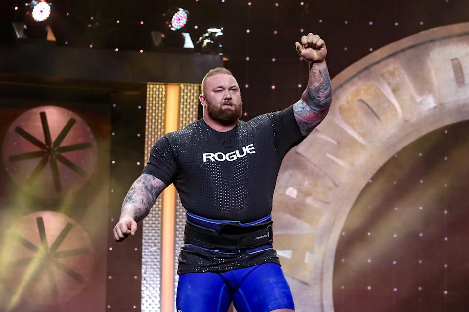 Hafþór Júlíus Björnsson salutes the crowd after lifting the Odd Haugen Stone Shoulder (410 pounds) to win the Arnold Strongman Classic as part of the Arnold Sports Festival on March 2, 2019 in Columbus, Ohio. (Photo by Frank Jansky/Icon Sportswire via Getty Images)