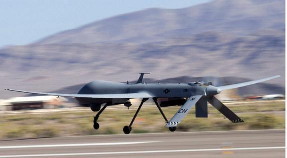 An MQ-1B Predator unmanned aircraft takes off for a training mission at Creech Air Force Base, Nev.