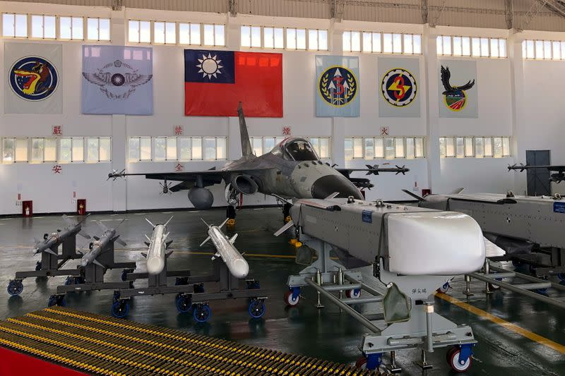 FILE PHOTO: Indigenous Defense Fighter (IDF) fighter jet and missiles are seen at Makung Air Force Base in Taiwan's offshore island of Penghu