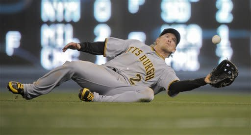 Pittsburgh Pirates center fielder Nate McLouth makes a catch on a ball hit by Los Angeles Dodgers' Jerry Hairston Jr. during the sixth inning of a baseball game, Wednesday, April 11, 2012, in Los Angeles. (AP Photo/Mark J. Terrill)