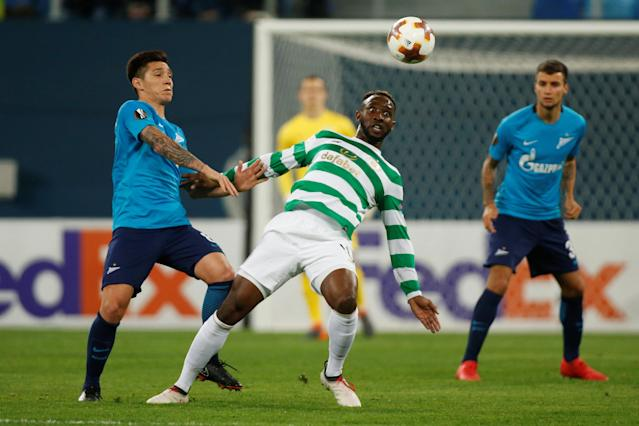 Soccer Football - Europa League Round of 32 Second Leg - Zenit Saint Petersburg vs Celtic - Stadium St. Petersburg, Saint Petersburg, Russia - February 22, 2018 Celtic's Moussa Dembele in action with Zenit St. Petersburg's Matias Kranevitter REUTERS/Maxim Shemetov