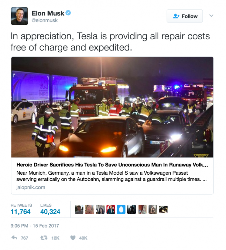 Tesla CEO Elon Musk has praised a man for risking his own life - and his Tesla - to save an unconscious driver.