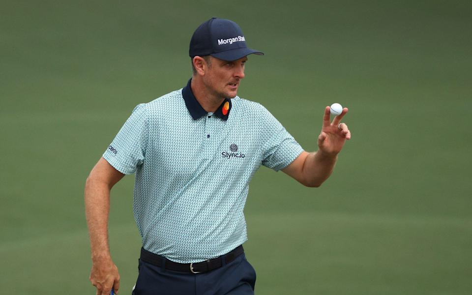 Justin Rose shot a level-par 72 in the second round to maintain his lead at Augusta - GETTY IMAGES