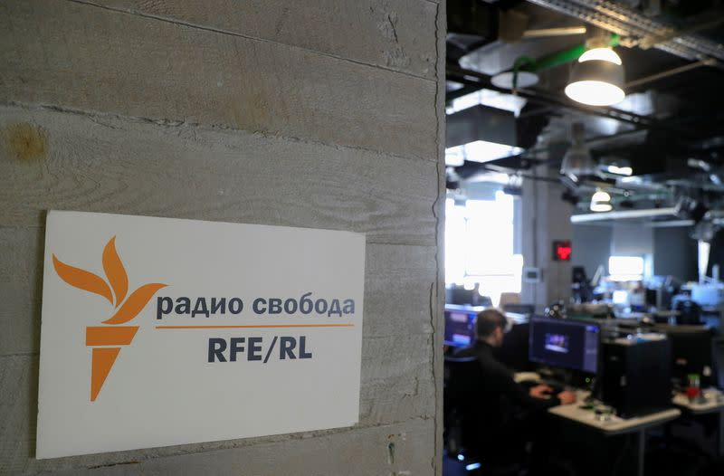 FILE PHOTO: A view shows the newsroom of Radio Free Europe/Radio Liberty broadcaster in Moscow