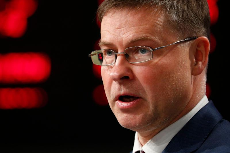 European Commission Vice-President Valdis Dombrovskis speaks during a news conference on the Youth Employment Support and Skills Agenda at EU headquarters in Brussels, Wednesday, July 1, 2020. (Francois Lenoir, Pool Photo via AP) (Photo: ASSOCIATED PRESS)