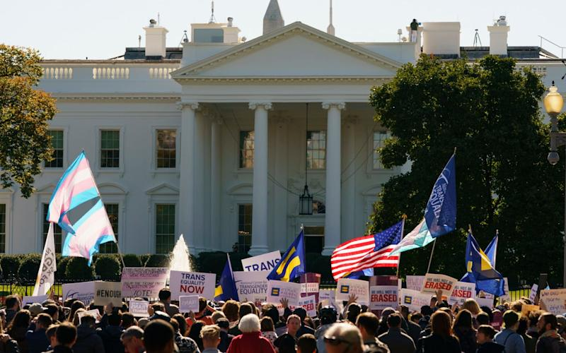 Transgender rights campaigners protest outside the White House - AP