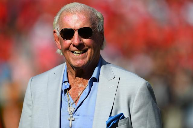 Rick Flair during the game between the Georgia Bulldogs and the Tennessee Volunteers on September 29, 2018 at Sanford Stadium in Athens, Georgia. (Photo by Scott Cunningham/Getty Images)