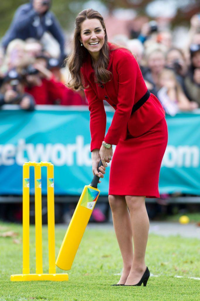 <p>Once again not exactly dressed for sporting, Kate was not afraid to get her heels dirty. The down-to-earth Duchess jumped into a cricket game while visiting Christchurch, New Zealand. </p>