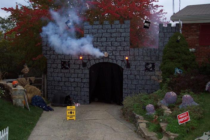 """<p>Shadows and fog go together like vampires and blood, and fog machines can add a quick creep factor to any Halloween display. """"They suddenly change everything,"""" says Armstrong. """"Things go from normal to crazy almost instantly."""" <i>(Photo: Bud Stross)</i><b><br></b></p>"""